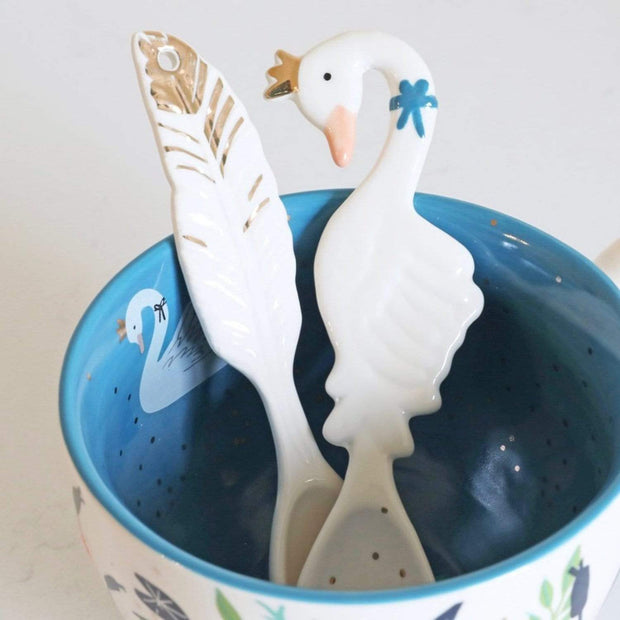 Disaster Designs Secret Garden 2 Piece Swan Spoon Set - White - SECSPOSWA - Jashanmal Home
