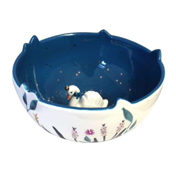 Disaster Designs Secret Garden Swan Bowl with Gift Box - Multi Colour - SECBOWSWA
