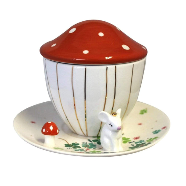 Disaster Designs Secret Garden Mouse Teacup with Gift Box - Multi Colour - SECCUPMOU - Jashanmal Home