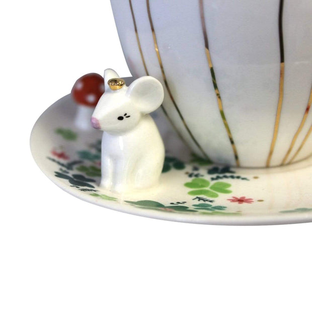 Disaster Designs Secret Garden Mouse Teacup with Gift Box - Multi Colour - SECCUPMOU