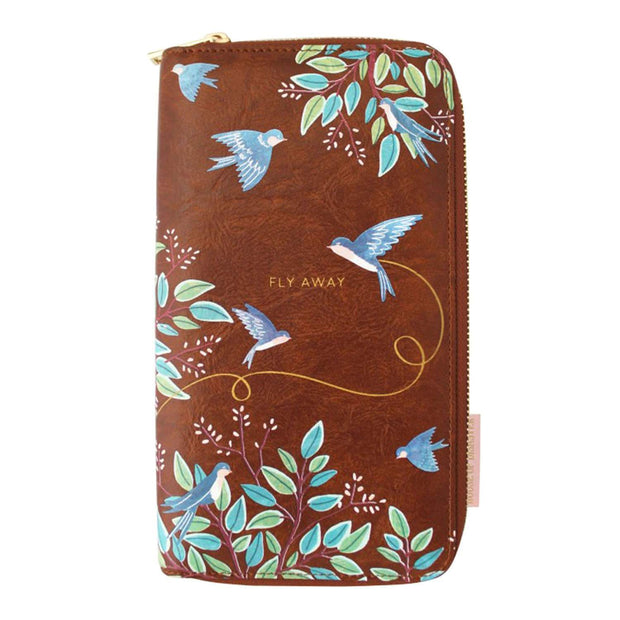 Disaster Designs Secret Garden Bird Travel Wallet - Blue and Brown - SECTWABIR - Jashanmal Home
