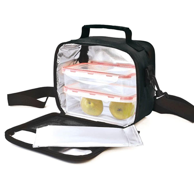 Iris Classic Lunch Bag with 2 Food Container - Black - 9120-TX - Jashanmal Home