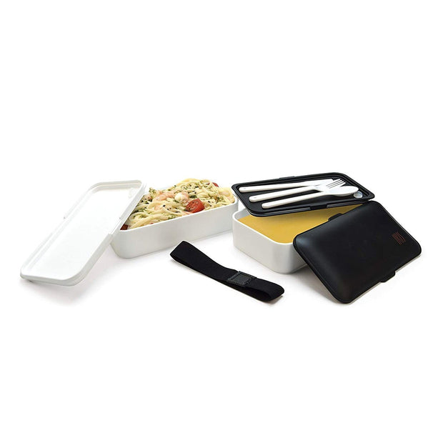 Iris Barcelona Beto Lunch Box with Cutlery - Black and White, 1.2 Litre - 8431-P - Jashanmal Home