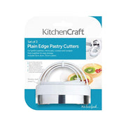 KitchenCraft Pastry Cutter Set - Sliver and White, 3 - Piece - KCABPLAIN