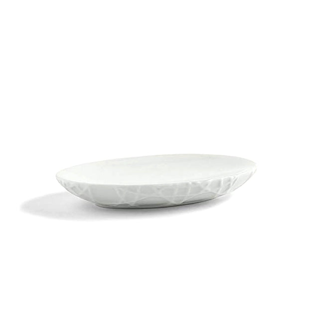 Kassatex Rattan Embossed Porcelain Soap Dish - White - ARN-SD - Jashanmal Home