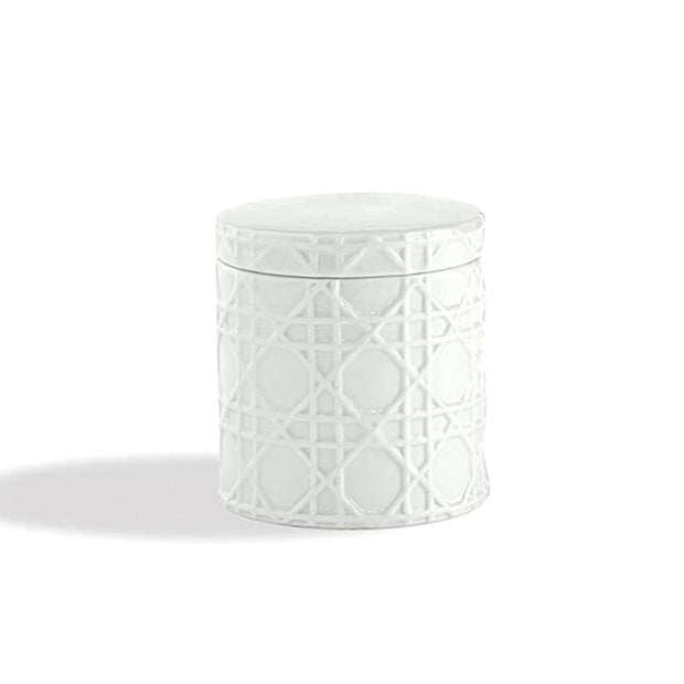 Kassatex Rattan Embossed Porcelain Cotton Jar - White - ARN-CJ - Jashanmal Home