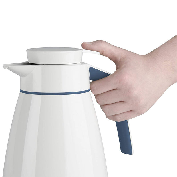 Emsa Bell Quick Tip Flask - White and Blue, 1 Litre - 2259621 - Jashanmal Home