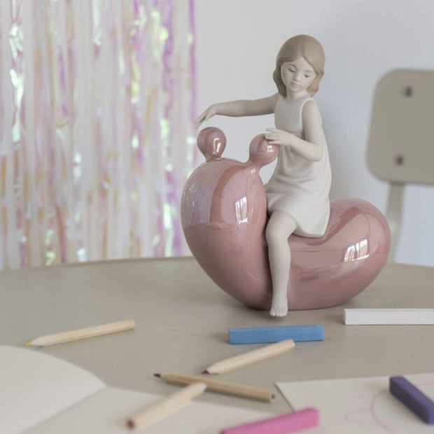 Lladro My Seesaw Balloon Girl Figurine - Pink and White - 1009367