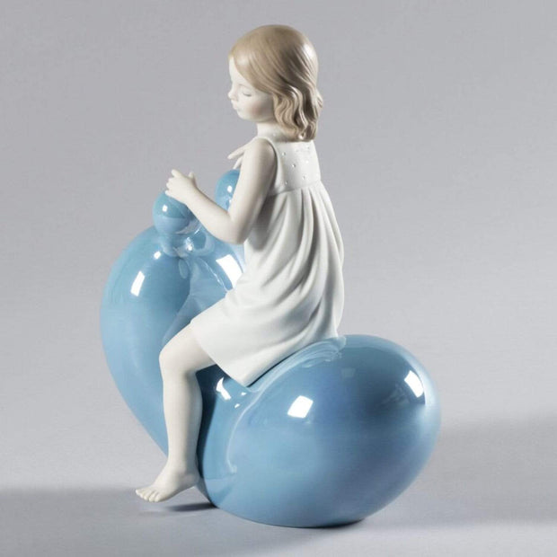 Lladro My Seesaw Balloon Girl Figurine - Blue and White - 1009368 - Jashanmal Home