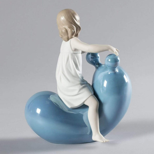 Lladro My Seesaw Balloon Girl Figurine - Blue and White - 1009368