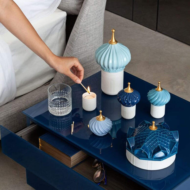 Lladro 1001 Lights Turquoise Spire Candle with Unbreakable Spirit Scent - 1040157 - Jashanmal Home