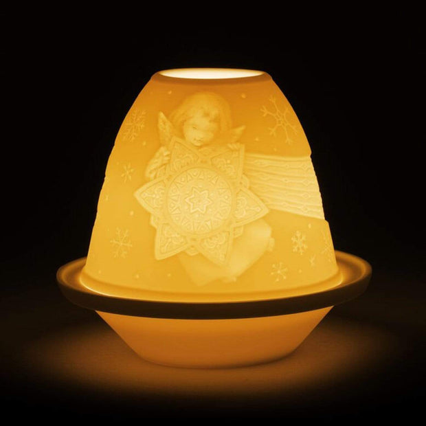 Lladro Angel Star Lithophane Votive Light with Plate - 1017341 - Jashanmal Home