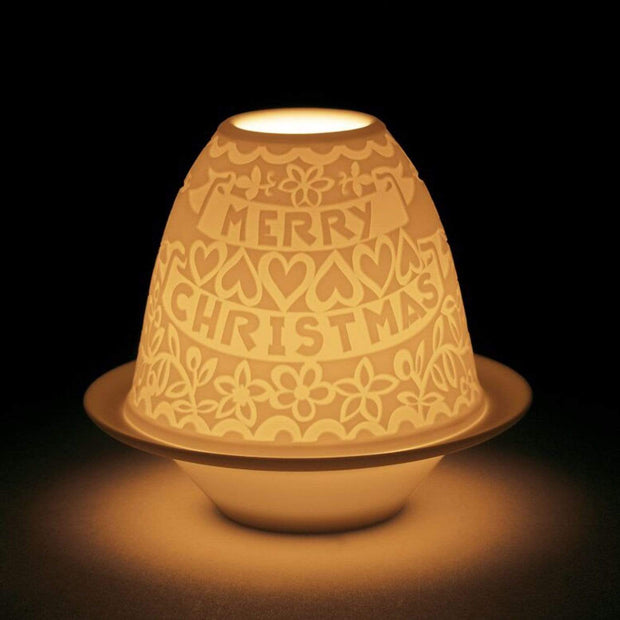 Lladro Borders Christmas Lithophane Votive Light with Plate - 1018413 - Jashanmal Home