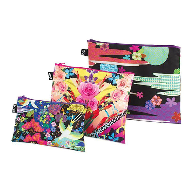 Loqi Artist Shinpei Naito Dancing Birds and Flower Dream Zip Pouch - ZP.SN - Jashanmal Home