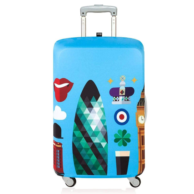 Loqi Artist Hey Studio London Luggage Cover - Blue, Small - LS HEY LO - Jashanmal Home