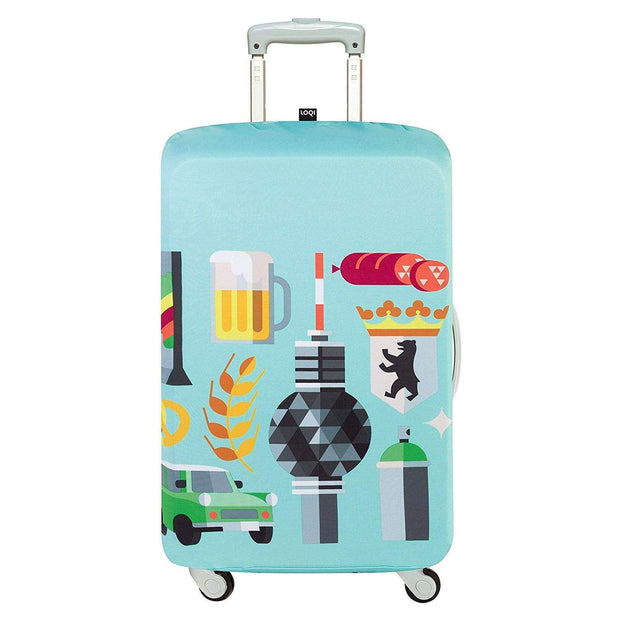 Loqi Artist Hey Studio Berlin Luggage Cover - Light Blue, Large - LL HEY BE - Jashanmal Home