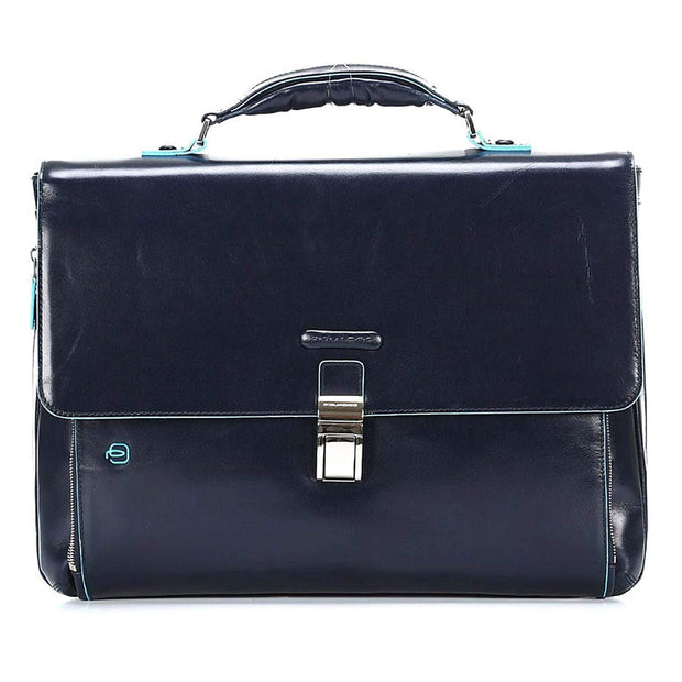 Piquadro Blue Square Leather Briefcase with Flap Closure - Blue - CA3111B2/BLU2 - Jashanmal Home