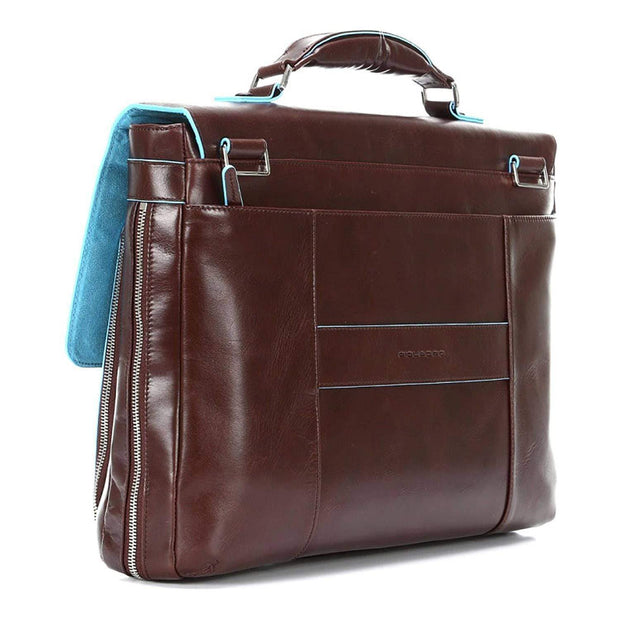 Piquadro Blue Square Leather Briefcase with Flap Closure - Mahogany - CA3111B2/MO - Jashanmal Home