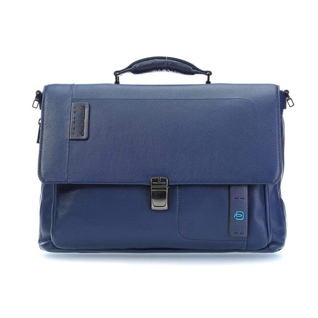 Piquadro Flap Over Expandable Briefcase- Black - CA3111P15/N