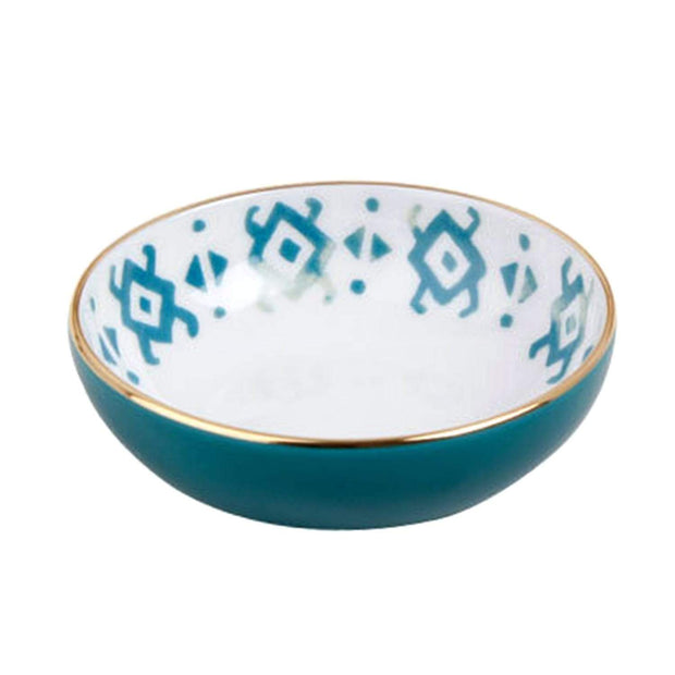 Porland Porselen Posh 10 cm Green Bowl - White and Blue - 04ALM003614