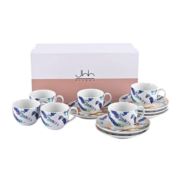 Silsal Fairuz Espresso Cups and Saucer Gift Set - 12 Pieces - GRP309-TGB - Jashanmal Home