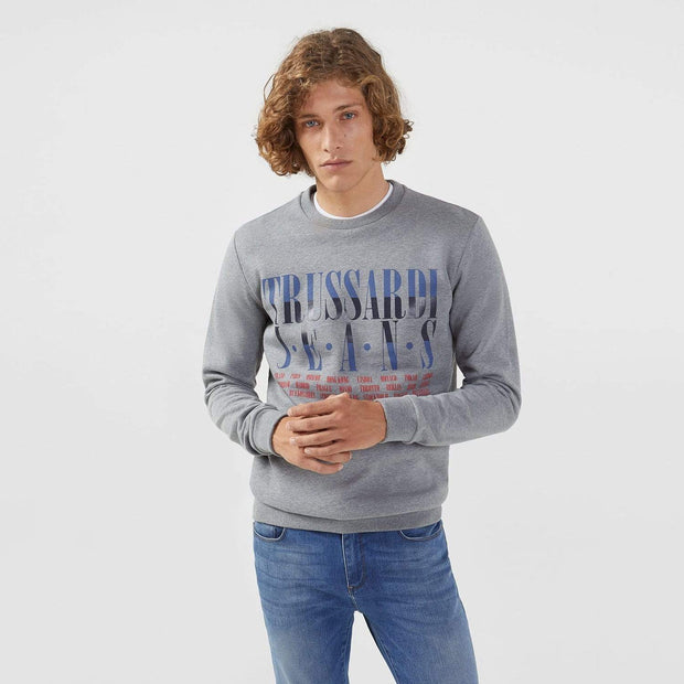 Trussardi Brushed Cotton Regular Fit Sweatshirt - Dolphin - 52F00089-E155-M - Jashanmal Home