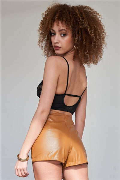 Girls Night Camel Vegan Leather Shorts