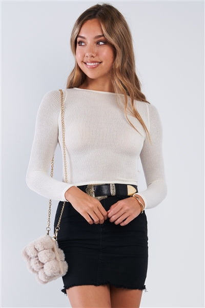 Fitted Cream Long Sleeve Knit Crop top