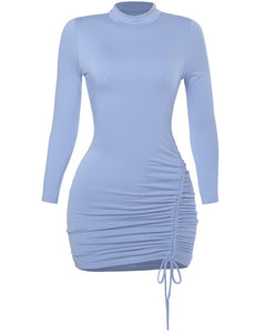 Sweet Stunner Ruched Dress - Dusty Blue