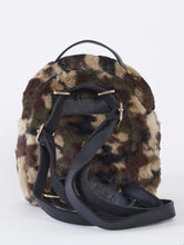 Load image into Gallery viewer, Camo Faux Shearling Mini Backpack With Chain Detail