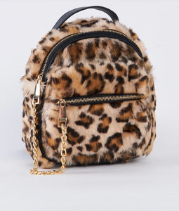 Leopard Faux Shearling Mini Backpack With Chain Detail