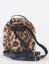 Load image into Gallery viewer, Leopard Faux Shearling Mini Backpack With Chain Detail