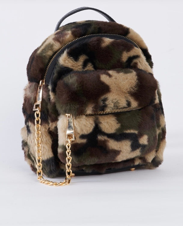 Camo Faux Shearling Mini Backpack With Chain Detail