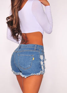 Raw Distressed Denim Shorts