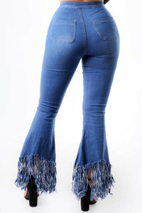 Highwaist Fringe Flare Jeans - Light Denim