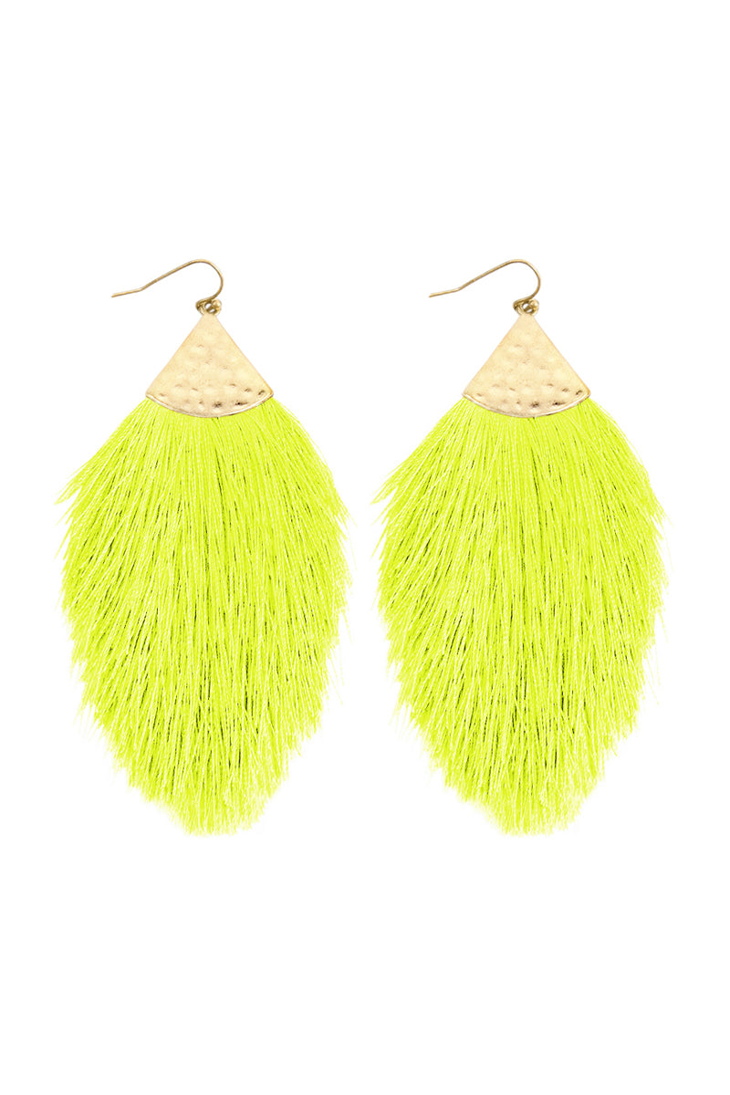 Belle Tassel Earrings - Neon Yellow