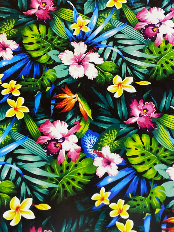 Tropical floral Print on Black  Printed HTV