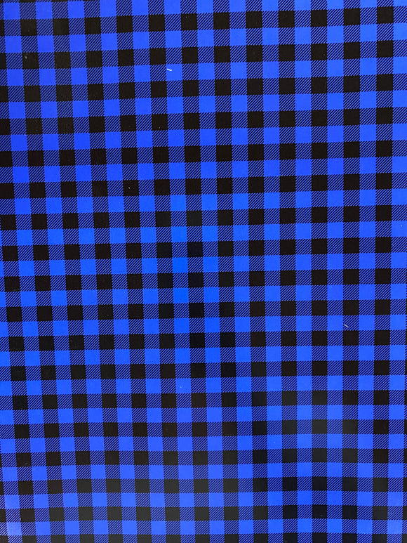 Blue and Black Plaid Printed HTV