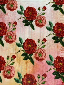 Red Floral Printed HTV