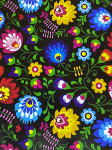 Bright Floral Flowers on Black Printed HTV