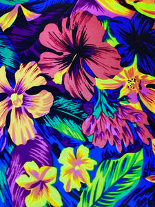 Bright Tropical floral Print on Black  Printed HTV