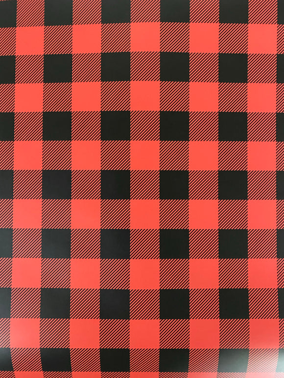 Large Red and Black Plaid Printed HTV