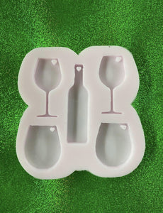 Wine glass and wine bottle Key Chain Silicone Mold