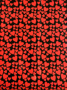 Red Hearts on Black Printed HTV