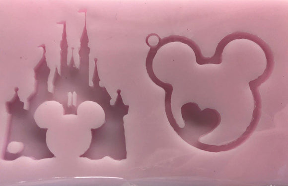 Princess Castle and Heart Mouse Head Key Chain Silicone Mold