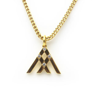 Gold Charm Diamond Pendant Chain - Men