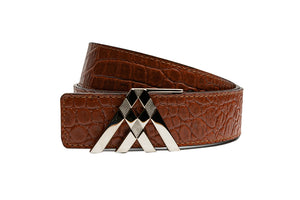 Tan Croc & Brown Smooth Reversible Leather Pavilion Belt - Antoni Manuel