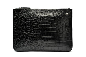 Black Croc Leather Pouch Holder