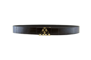 Black Croc & Black Smooth Leather Pavilion Belt