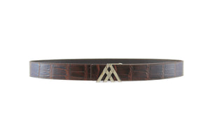 Brown Croc & Brown Smooth Leather Pavilion Belt